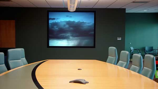 Intigrated Audio Visual system installation at the Edmonton International Airport Executive Boardroom by Allstar Show Industries