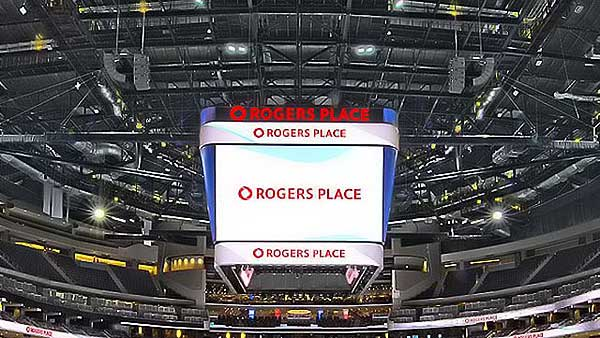 Sound system installation at the Edmonton's Rogers Place