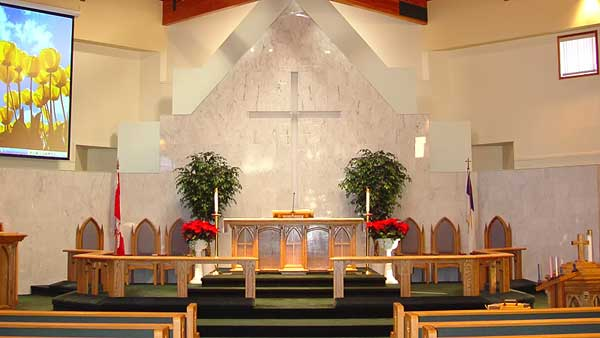 Audio and Video installation at St. Matthew Lutheran Church Stony Plain Alberta by Allstar Show Industries