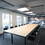 Photo of a meeting room with acoustic panels installed.