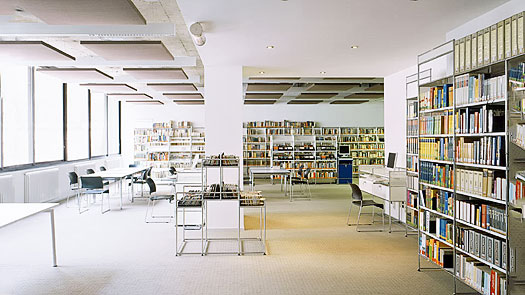 Photo of a library with acoustic panels installed.