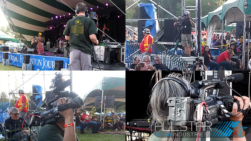 Camera operators at the 34th Edmonton Folk Music Festival.