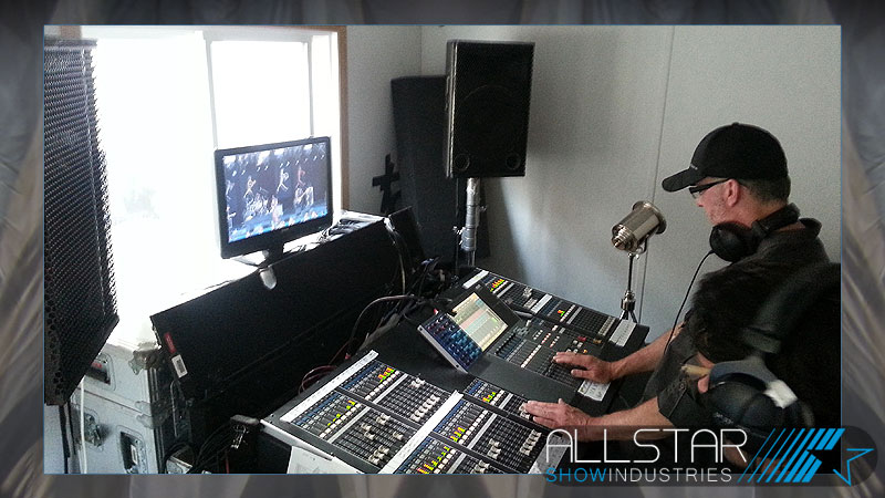 Mixing the audio for video in the video control room at the 24th Edmonton Folk Music Festival.