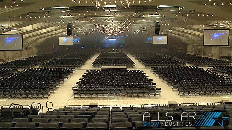 Long view of the Shaw Conference Centre sound, video and lighting set-up for Break Forth 2013.