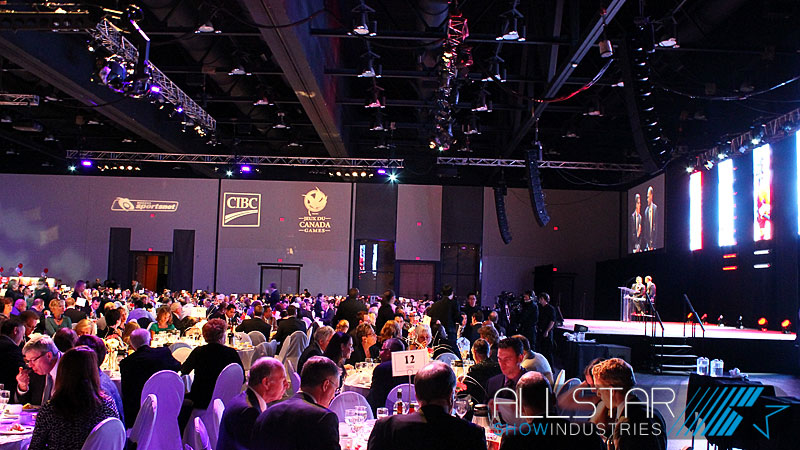 Canada's Sports Hall of Fame 2012 induction ceremonies on October 18 2012 at the Calgary TELUS Convention Centre with sound video and lighting supplied by Allstar Show Industries.
