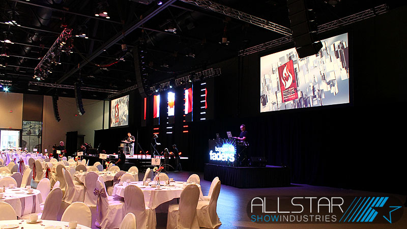 Setting up audio, video and lighting for Canada's Sports Hall of Fame 2012 induction ceremonies on October 18 2012 at the Calgary TELUS Convention Centre.