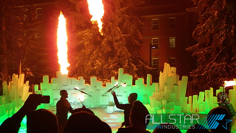 Fiery entertainment at the University of Alberta Alumni Association's 100th anniversary Green & Glow Winterfest