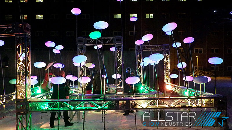 The Lister Light Garden facricated from truss at the University of Alberta Alumni Association's 100th anniversary Green & Glow Winterfest