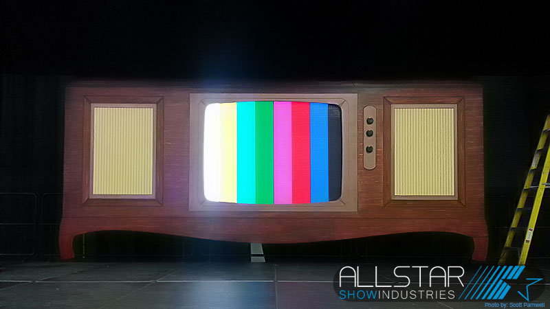 The 60s style console television set centre piece for the Northern Alberta - North West Territories Junior Achievement Awards