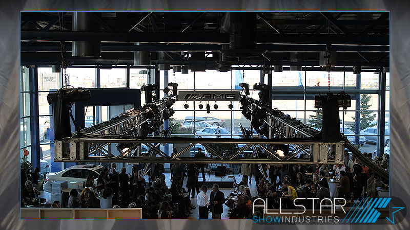 A view from above of the truss motors saounf video and lighting for Mercedes-Benz Start Up.