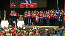 Memorial Cup Champions the Edmonton Oil Kings celebrate in Churchill Square.