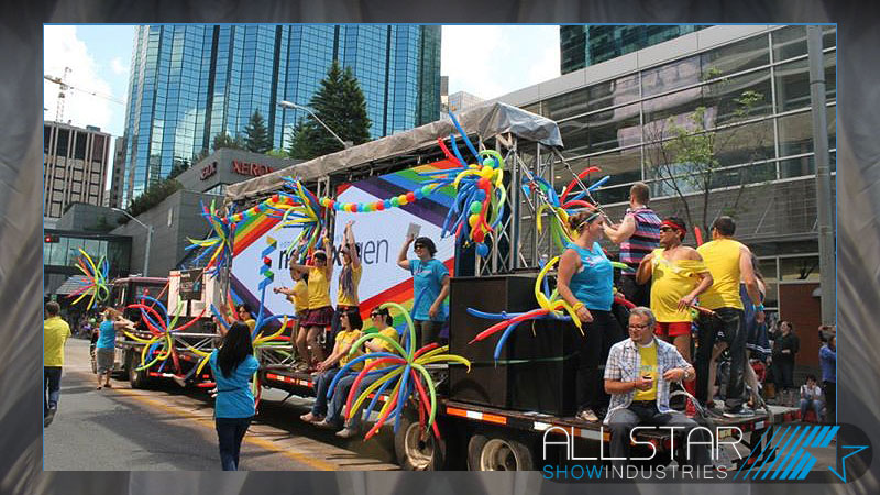 Pride Parade float for Edmonton NextGen complete with a large video screen and sound system was provided by Allstar Show Industries.