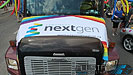 This Pride Parade float for Edmonton NextGen complete with a large video screen and sound system was provided by Allstar Show Industries.