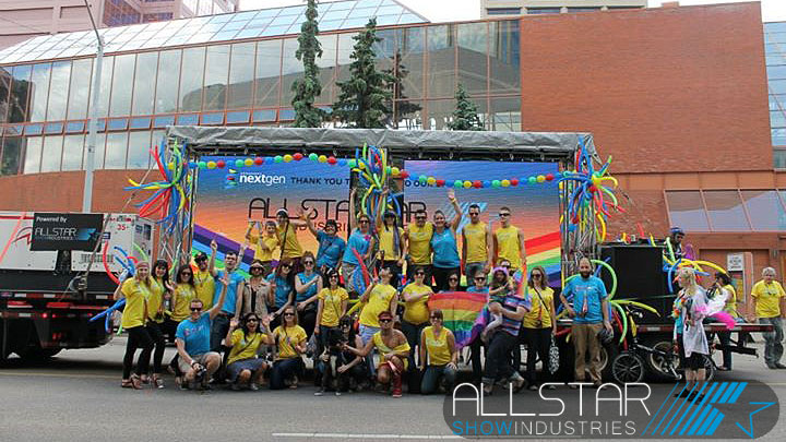 Allstar supplied the float for Edmonton nextgen's entry in the Pride Parade.