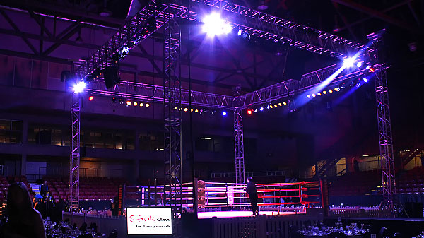 Muay Thai Alberta Championships Audio, Video and Lighting set up at the Edmonton Expo Centre by Allstar Show Industries