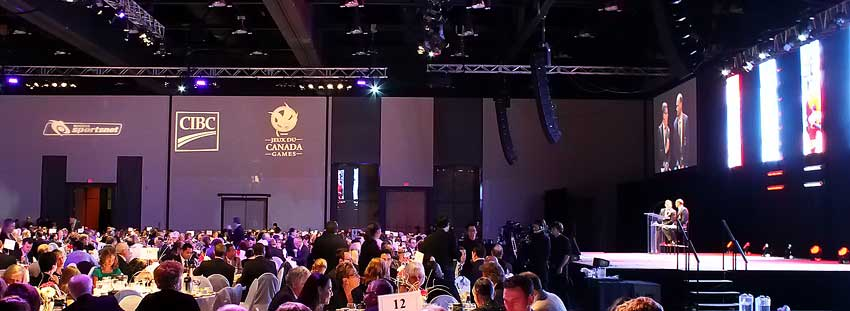 Audio, Video, Lighting Show Production for a Canada Sports Hall of Fame event.