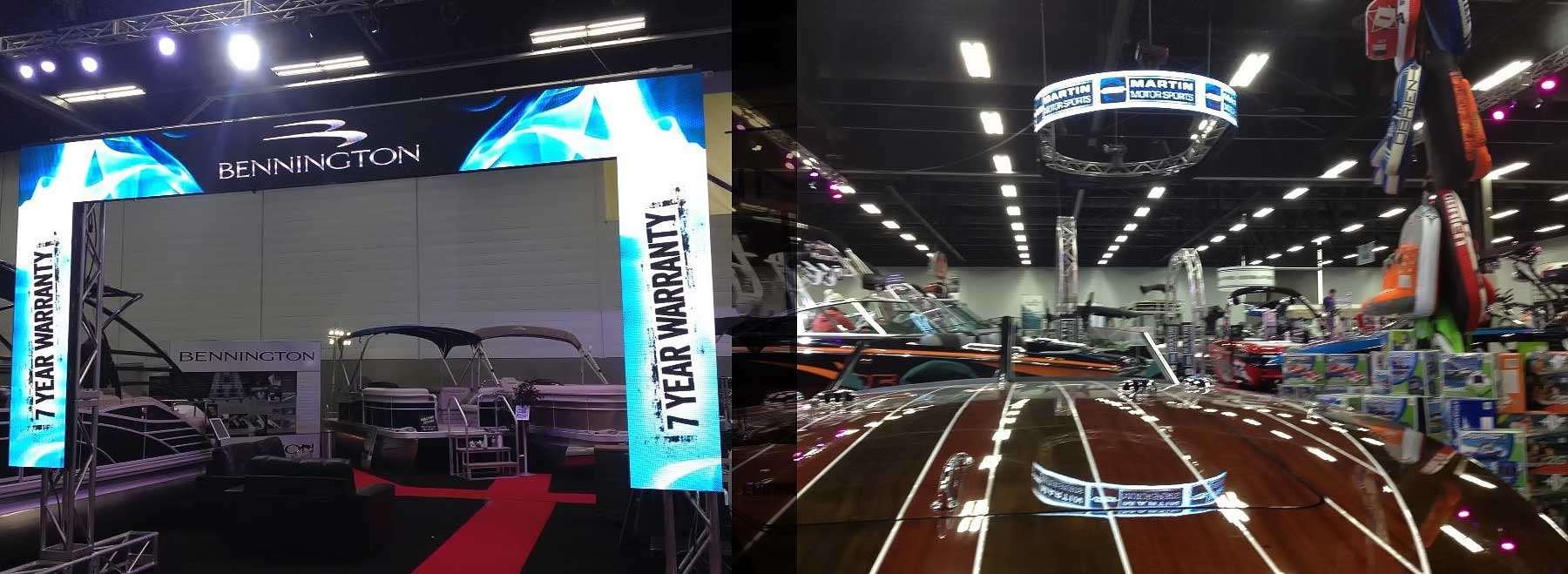 Sound, Video, Lighting, Staging, Truss and Rigging or any combination can make your trade show presence more than memorable like the magic Allstar works for the Martin Motor Sport booth
