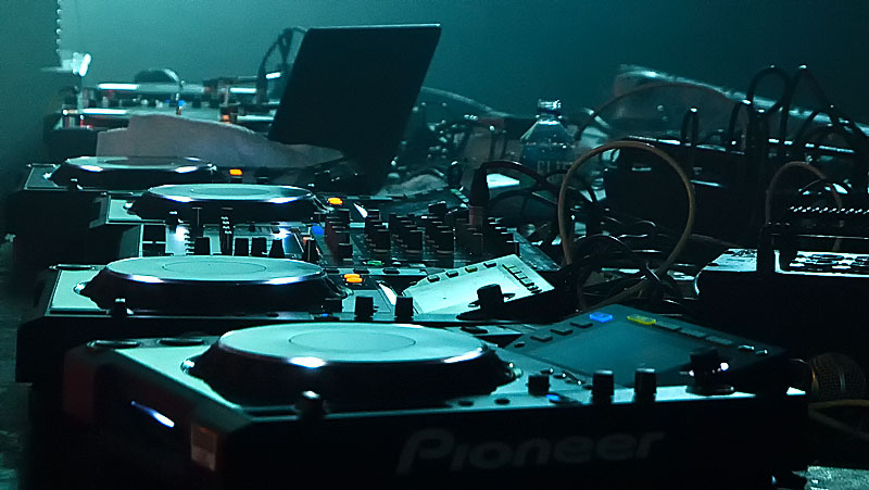 Audio equipment at an EDM event from Allstar's pick up rental department.