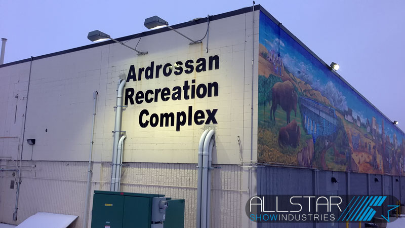 Looking down the southeast wall of the Ardrossan Recreation Complex is the Ardrossan Mural which is 3.35 m x 30.48 m.