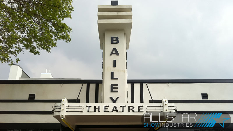 Sign over the front entrance of the Bailey Theatre Camrose Alberta Canada.