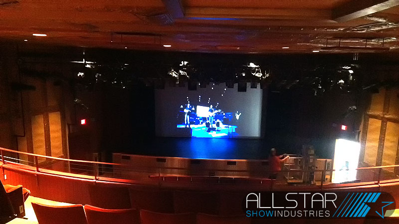 Looking out from the balcony toward the stage inside the Bailey Theatre Camrose Alberta Canada.