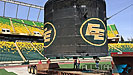 The old speaker pod at Edmonton's Commonwealth Stadium being lowered onto a flat deck.