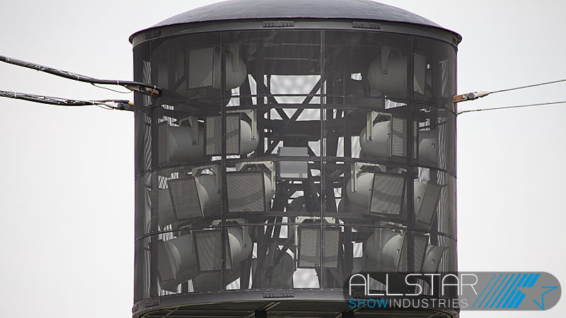 The new Commonwealth Stadium centre speaker pod loaded with Community speakers and in the air.