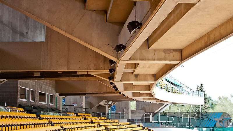 Community speakers installed in the overhang on the west side of Edmonton's Commonwealth Stadium.