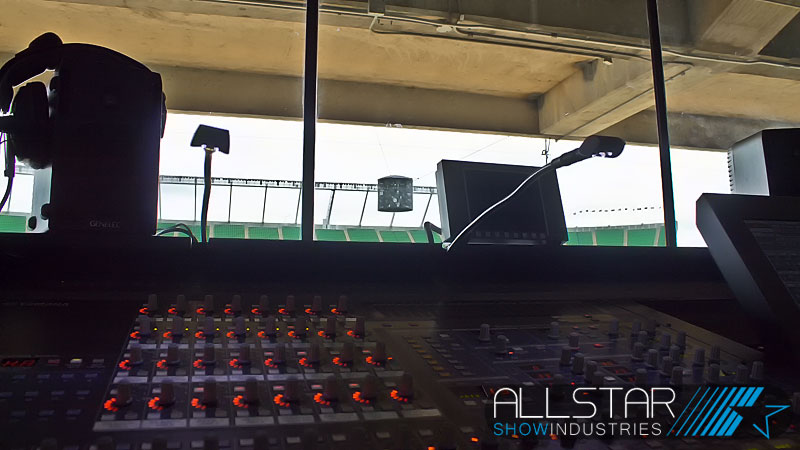 In the sound booth looking out across the Yamaha PM5DRH at Edmonton's Commonwealth Stadium.