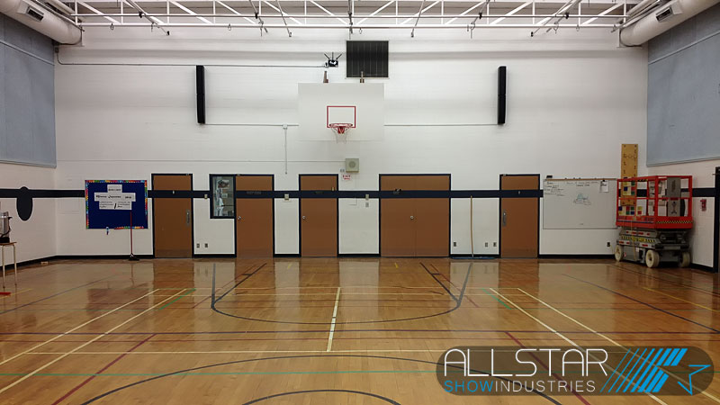 Gymnasium sound system upgrade designed, supplied and installed by Allstar Show Industries