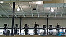 On the upper level fitness area and running track sound is provided through Meyer Sound UPM1P's.
