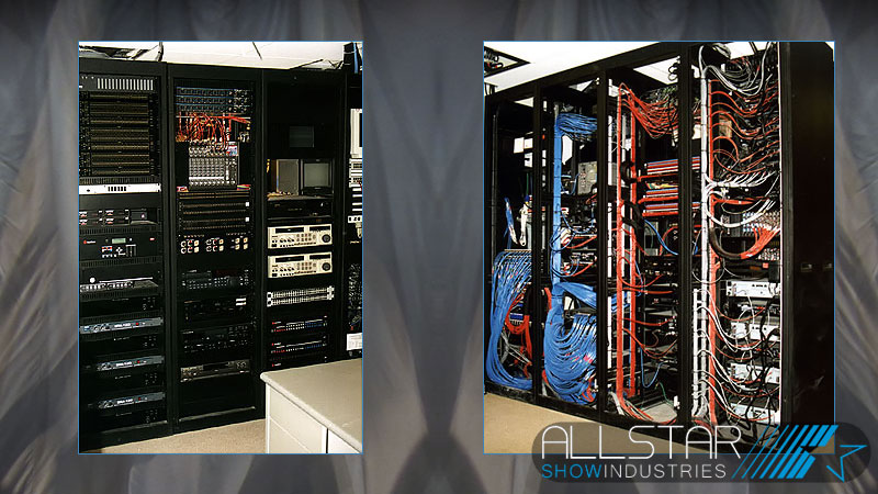 Front and rear view of audiovisual equipment racks installed at SFU`s Morris J Wosk Centre for Dialogue