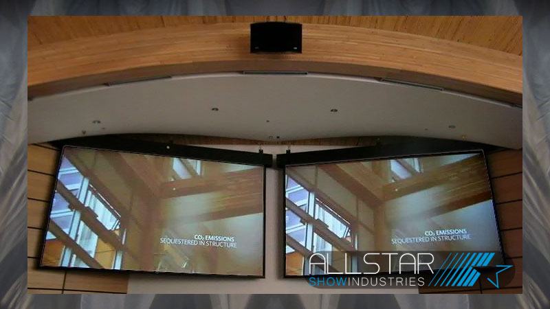 Two 16:10 projection screens in the University of British Columbia's Centre for Interactive Research on Sustainability Lecture Theatre