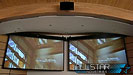 Two 16:10 projection screens in the UBC CIRS Lecture Theatre