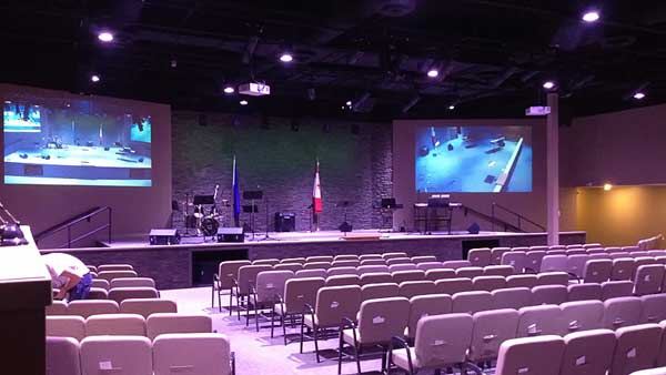 Audio, video, stage and house lighhting supply and installation by Allstar Show Industries at Calvary Pentecostal Church Camrose Alberta