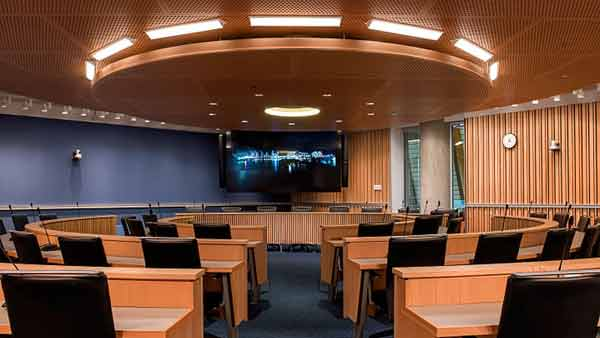 Integrated Audio Visual system at UBC supplied and installed by Allstar Show Industries