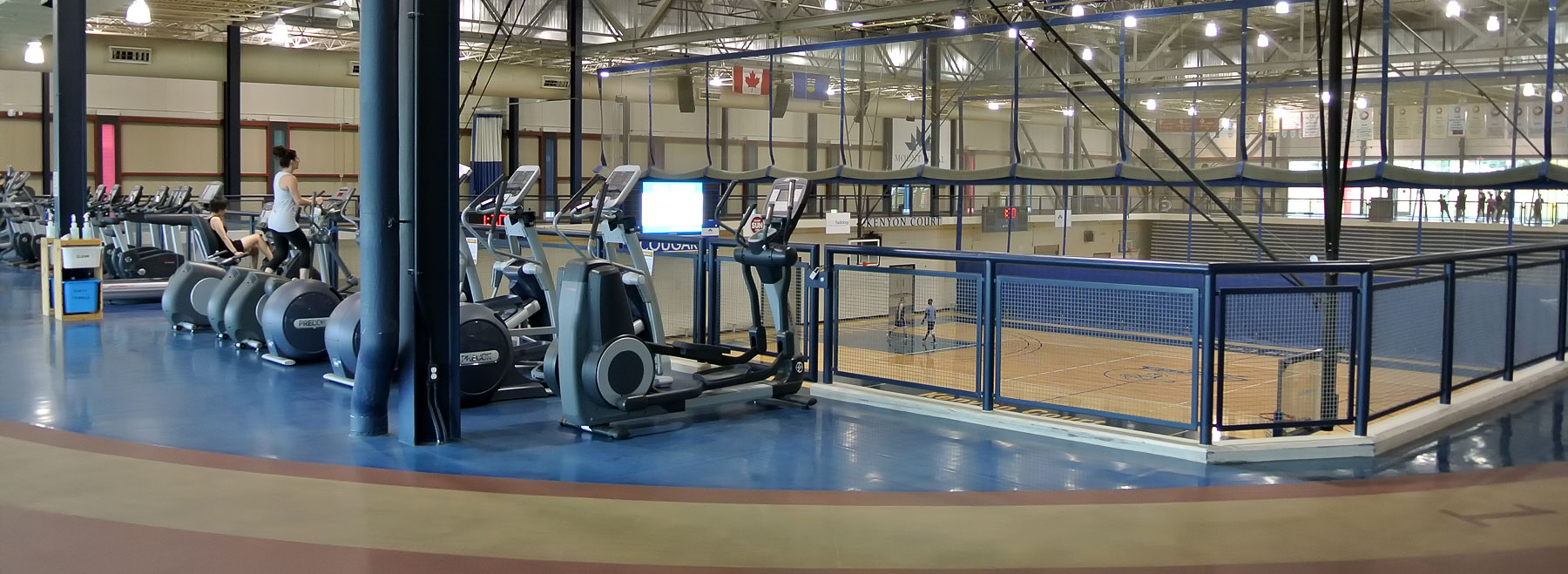 The Kenyon Gymnasium, fitness area and running track at Calgary's Mount Royal University