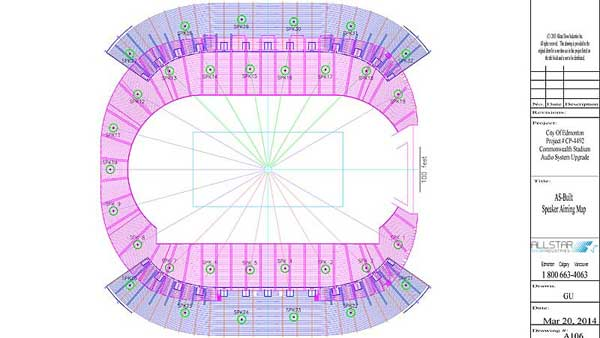 As built CAD Speaker Aiming Map for Edmonton's Commonwealth Stadium Audio System Upgrade