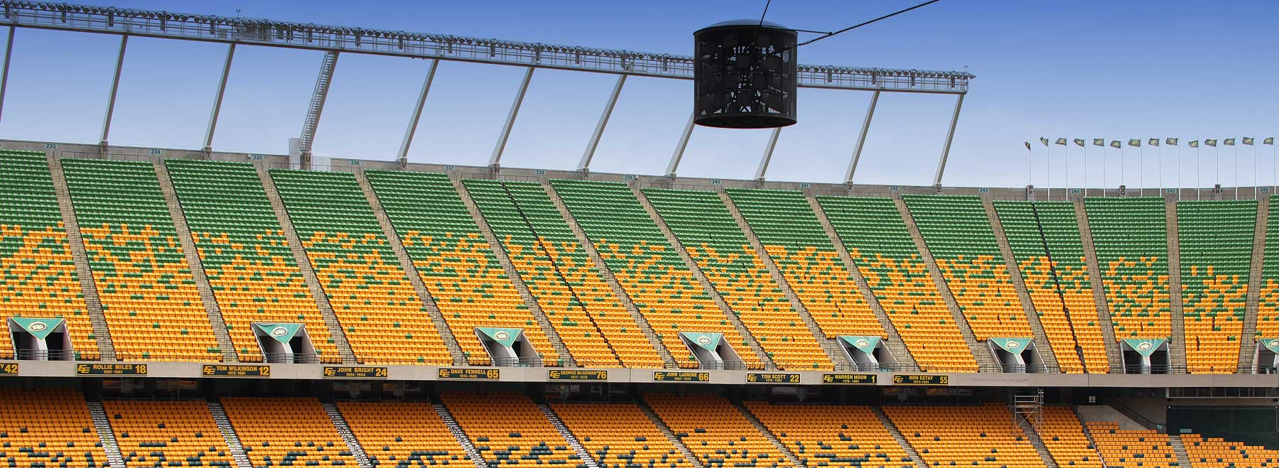 Edmonton's Commonwealth Stadium suspended centre speaker pod complete with new Community speakers.
