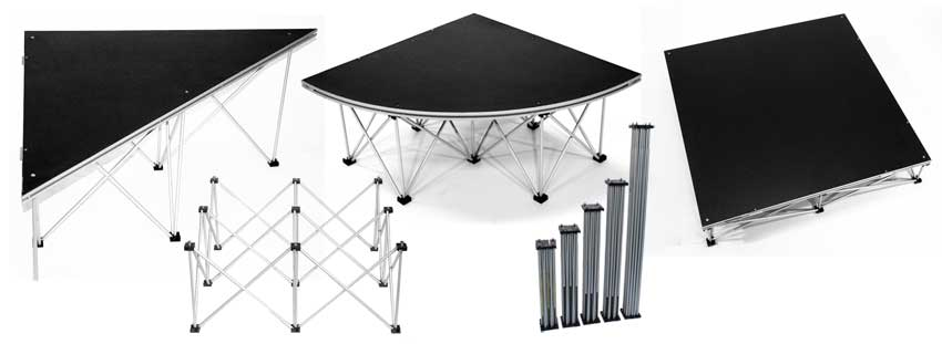 XL STAGE™ offers an extensive range of layout possibilities using square, triangular or quarter round platforms.