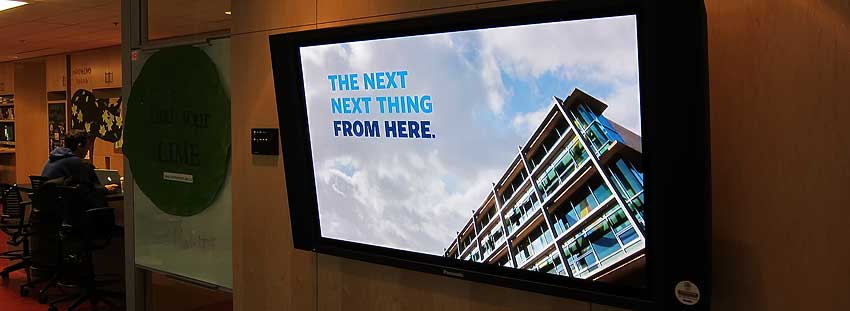 Large format professional video monitor used for digital signage installed at UBC by Allstar Show Industries