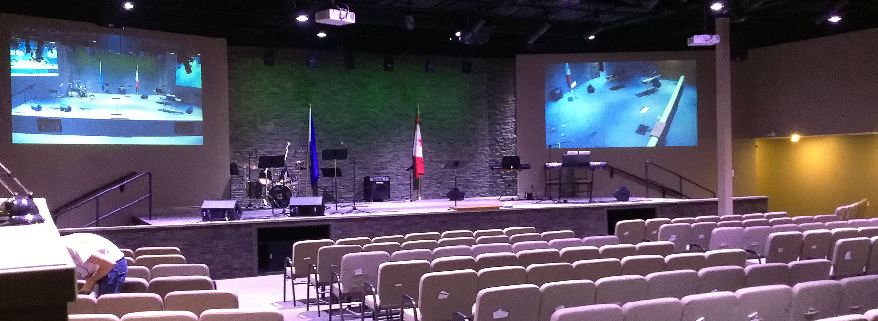 CityLights Church audio, video, stage and house lighting supplied and installed by Allstar.