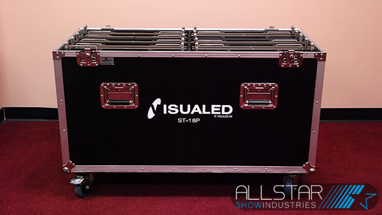 Used roadcase on wheels holds ten VisuaLED ST-18P tiles.