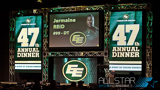 VisuaLed ST-18P video wall at work for the Edmonton Eskimos 47th annual dinner.