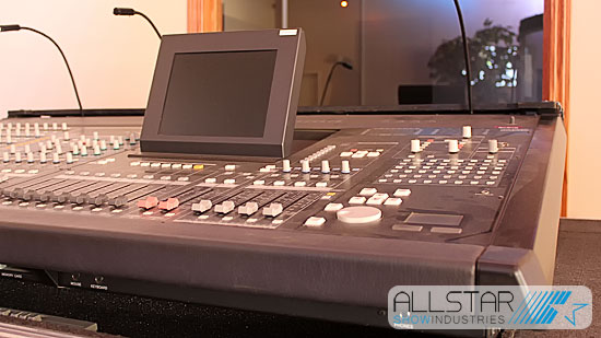Used Yamaha PM5D-RH digital mixing console on display at Allstar Show Industries Edmonton